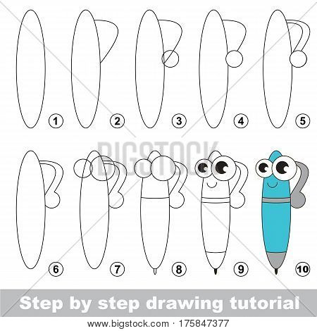 Drawing tutorial for preschool children, the easy educational kid game with simple game level of difficulty, how to draw Happy Pen.