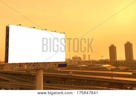 Large Blank Billboard Ready For New Advertisement With Sunset