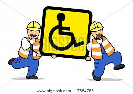 Two cartoon construction workers carrying yellow wheelchair sign