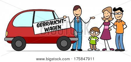 Cartoon family buying used car with car dealer holding German sign