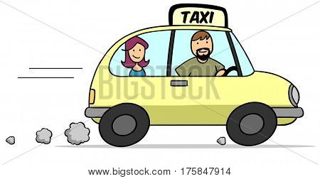 Cartoon taxi driver in cab with female passenger on back seat