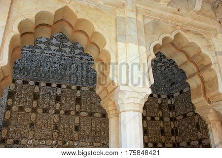 Jai Mandir (Mirror Palace) in Amber Fort Rajasthan India. Amber Fort is the main tourist attraction in the Jaipur area. poster