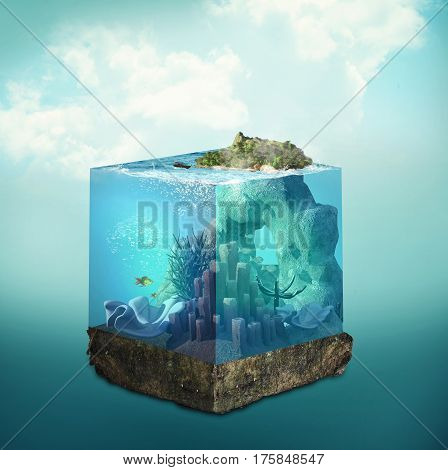 3D cube with layers of ocean and island.