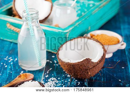 Coconut With Oil, Water, Sugar And Coconut Flakes