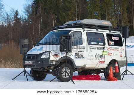 SORTAVALA, RUSSIA - FEBRUARY 18, 2017: Off-road tuner expeditionary car based on the GAZ-22177