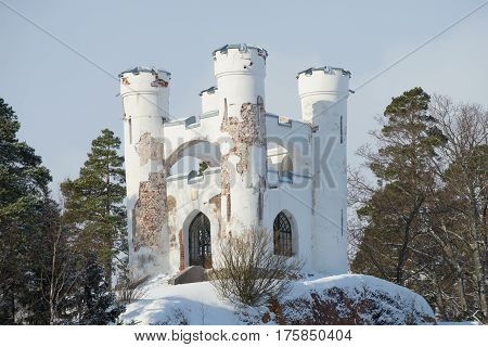 Chapel-tomb of Ludwigsburg on the Isle of the Dead closeup, sunny February afternoon. Vyborg, Russia