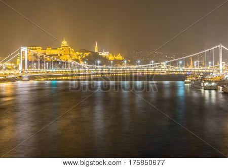 Night view of Elizabeth Bridge on Danube river and Buda Castle