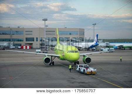 MOSCOW, RUSSIA - MAY 03, 2016: Towing aircraft Airbus A319 (VP-BTV) the airline