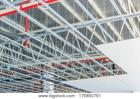 hung ceiling at new building construction site