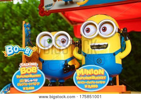 OSAKA, JAPAN - JAN 21, 2017 : Photo of HAPPY MINION popcorn bucket, selling Minion Goods shop. located in Universal Studios JAPAN, Osaka, Japan. Minions are famous character from Despicable Me animation.