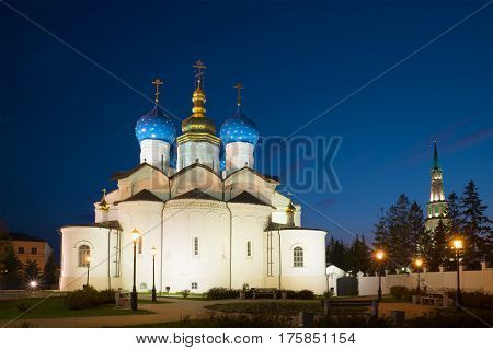 View of the Cathedral of the Annunciation of the May night. Kazan Kremlin. Kazan, Russia