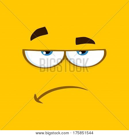 Grumpy Cartoon Square Emoticons With Sadness Expression. Illustration With Yellow Background