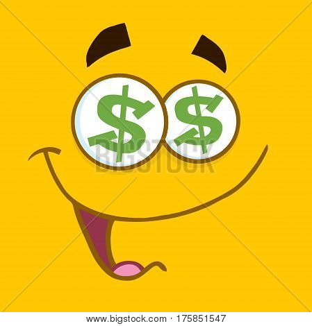 Cartoon Square Emoticons With Dollar Eyes And Smiling Expression. Illustration With Yellow Background
