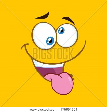 Mad Cartoon Square Emoticons With Crazy Expression And Protruding Tongue. Illustration With Yellow Background