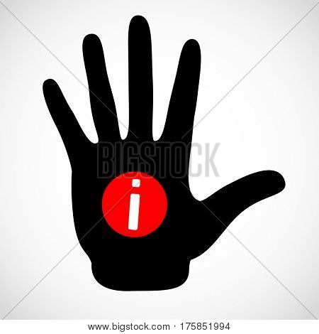Black hand and information sign on the palm icon concept. Hands icon illustration.