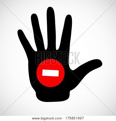 Black hand and stop sign on the palm icon concept. Hands icon illustration.
