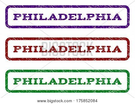 Philadelphia watermark stamp. Text tag inside rounded rectangle frame with grunge design style. Vector variants are indigo blue, red, green ink colors. Rubber seal stamp with unclean texture.