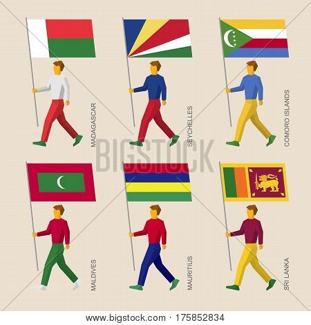 Set Of People With Flags Of Countries In Indian Ocean