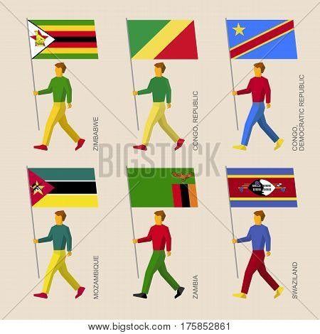 People With Flags Zimbabwe, Zambia, Mozambique, Swaziland, Congo