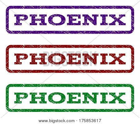 Phoenix watermark stamp. Text tag inside rounded rectangle frame with grunge design style. Vector variants are indigo blue, red, green ink colors. Rubber seal stamp with dust texture.
