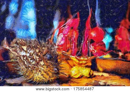 abstract oil painting still life on marine subject