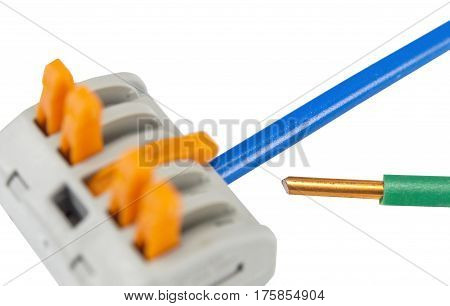 New compact splicing connector with connected wire isolated on white background poster