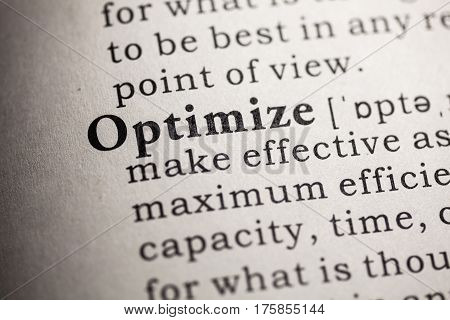 Fake Dictionary Dictionary definition of the word optimize.