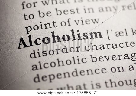 Fake Dictionary Dictionary definition of the word Alcoholism.