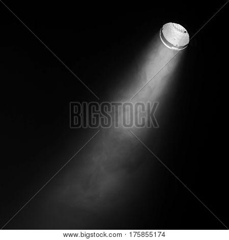 Ray Of Scenic Spot Light Over Black Smoke