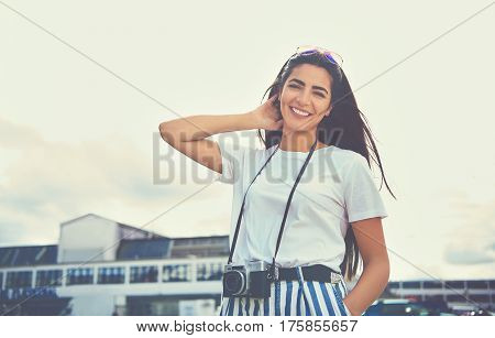 Happy Smiling Young Woman On Summer Vacation