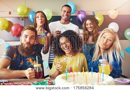 Six Diverse Group Of Friends At Party