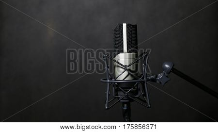 Professional Microphone in Recording Studio Professional Studio Background with space for text