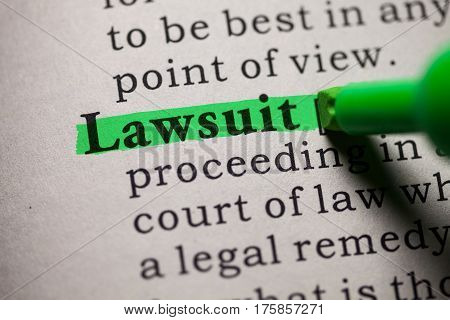 Fake Dictionary definition of the word lawsuit.
