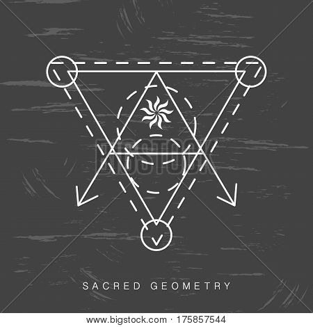 Sacred geometry sign on black grunge background. Linear Modern Art. Philosophy spirituality astrology symbol, logotype. Vector illustration