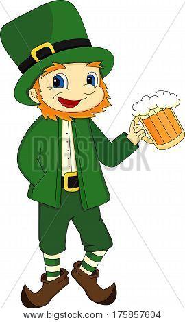 Cartoon Man Holds Beer Glass