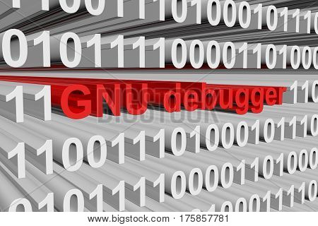 gnu debugger in the form of binary code, 3D illustration