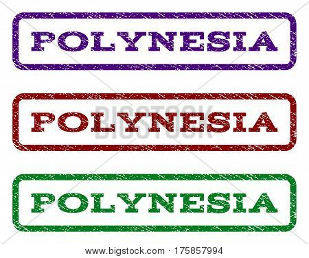 Polynesia watermark stamp. Text caption inside rounded rectangle with grunge design style. Vector variants are indigo blue, red, green ink colors. Rubber seal stamp with dirty texture.