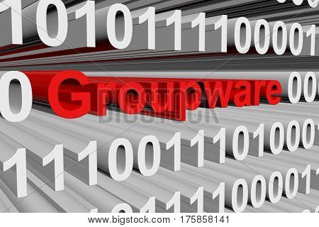 groupware in the form of binary code, 3D illustration