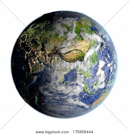Asia On Earth Isolated On White