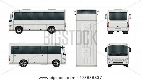 White mini bus vector template. Isolated city minibus. All elements in the groups have names the view sides are on separate layers. There is the ability to easily editing.