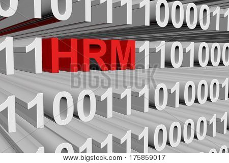 hrm in the form of binary code, 3D illustration