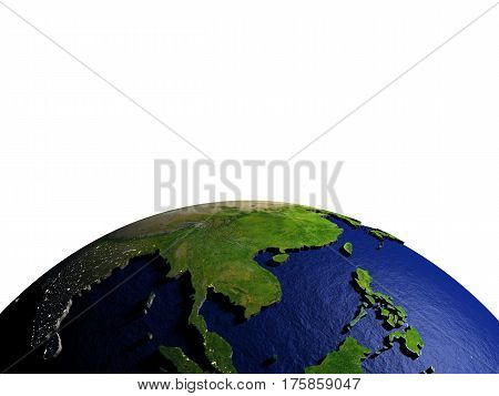 Indochina On Model Of Earth With Embossed Land
