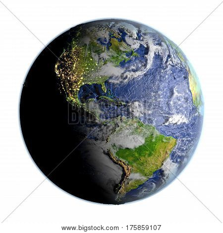 Americas On Earth Isolated On White