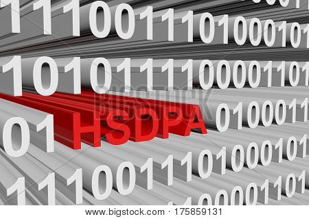 hsdpa in the form of binary code, 3D illustration