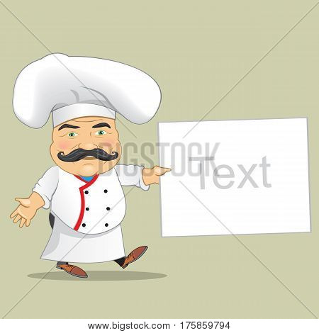 Chef Cook Serving Food Realistic Cartoon Character Design Isolated Vector Illustrator. cartoon cute funny chef cook in the cap