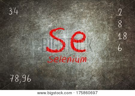 Isolated Blackboard With Periodic Table, Selenium