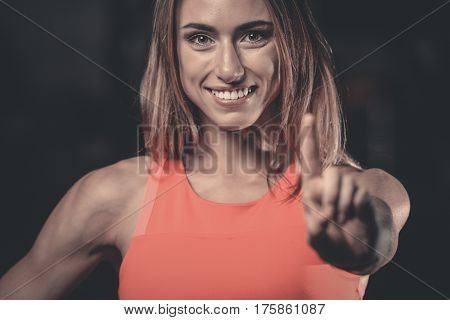 Portrait Of Beautiful Sexy Girl Background Gym Stop Sign Hand