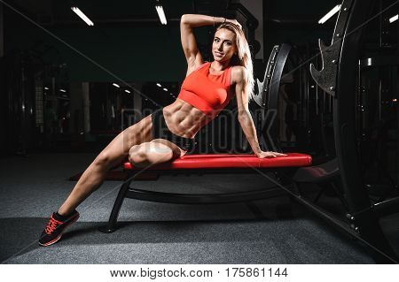 Fitness Sexy Mode On Diet With Long Female Legs Gym.