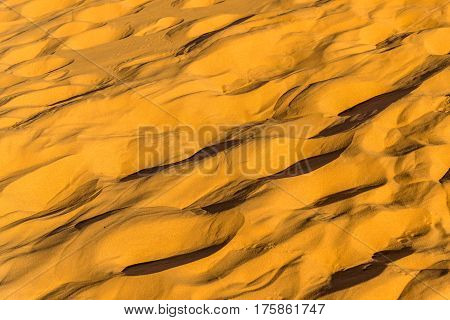 Texture of sand in the Sahara Desert at Merzouga, Morocco