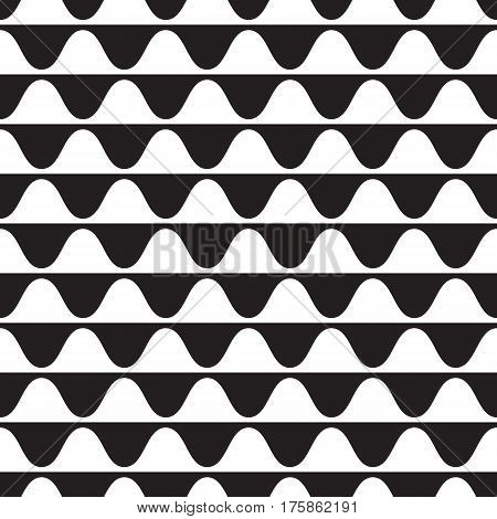 Seamless wave pattern. Geometric vector black background